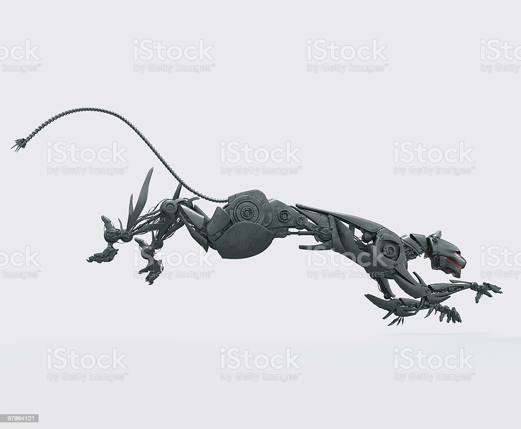 Hungry steel cyborg panther stock photo