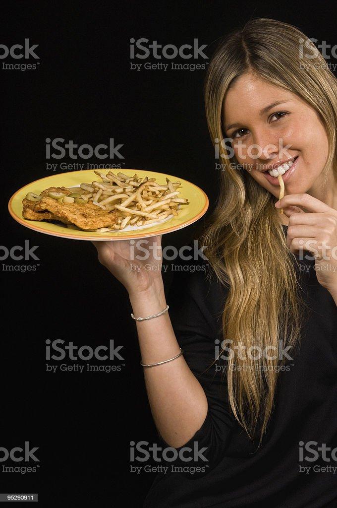 Hungry waitress royalty-free stock photo