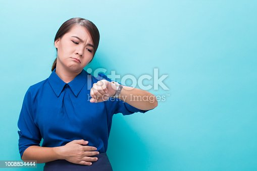 Hungry woman on isolated background