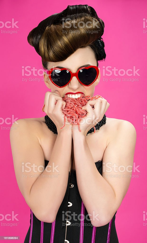 hungry woman royalty-free stock photo