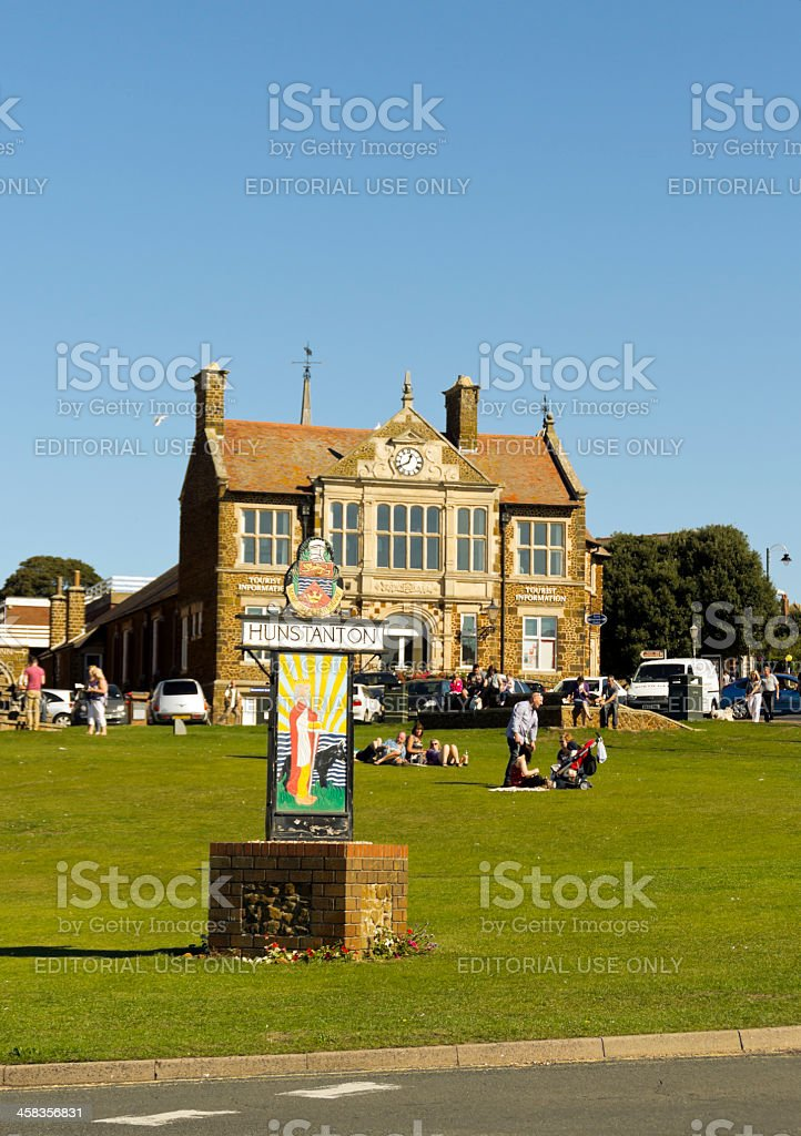 Hunstanton tourist information office and town sign royalty-free stock photo