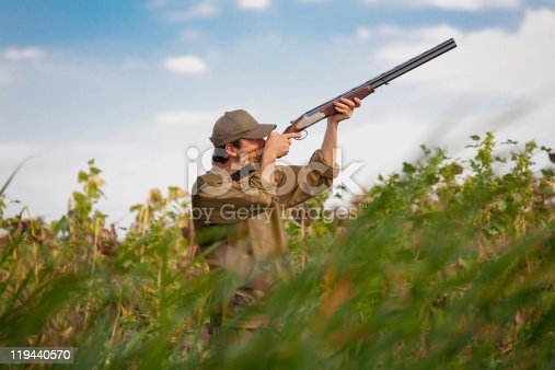 istock Hunter aiming at the game during a hunting party 119440570