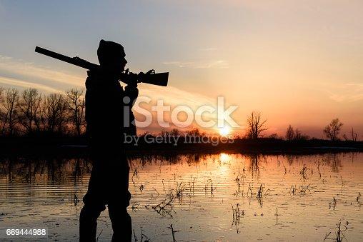 Hunter at sunset.