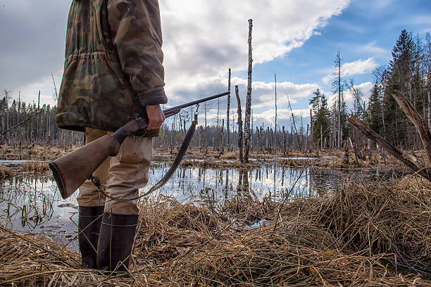 Hunter holds in his hand an old hunting rifle Hunter standing in the swamp in the forest and holding in his hand an old hunting rifle poaching animal welfare stock pictures, royalty-free photos & images