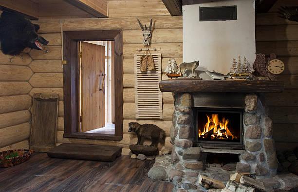 hunter house interior - kütük ev stok fotoğraflar ve resimler