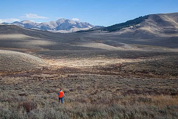 Hunter in Sagebrush Country stock photo