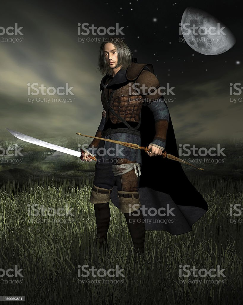 Hunter in the Moonlight stock photo