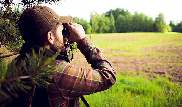 Hunter Looking Over The Field Through Binoculars A mid aged bearded man with a cap and checkered shirt is holding field glasses in his hands and looking over them to the green field surrounded with forest. It looks like summer, somewhere in the countryside. The man is standing on the edge of the forest. Image is in letterbox format. Copy space available. hunter stock pictures, royalty-free photos & images