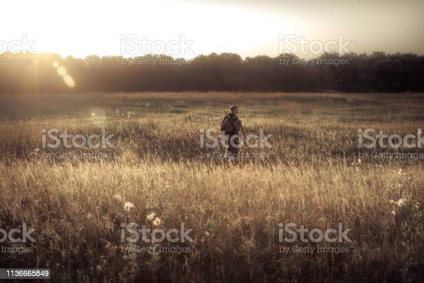 Photo of Hunter men hunting in rural field nearby forest at sunset during hunting season