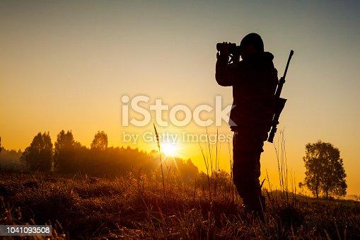 istock Hunter on the morning hunt 1041093508
