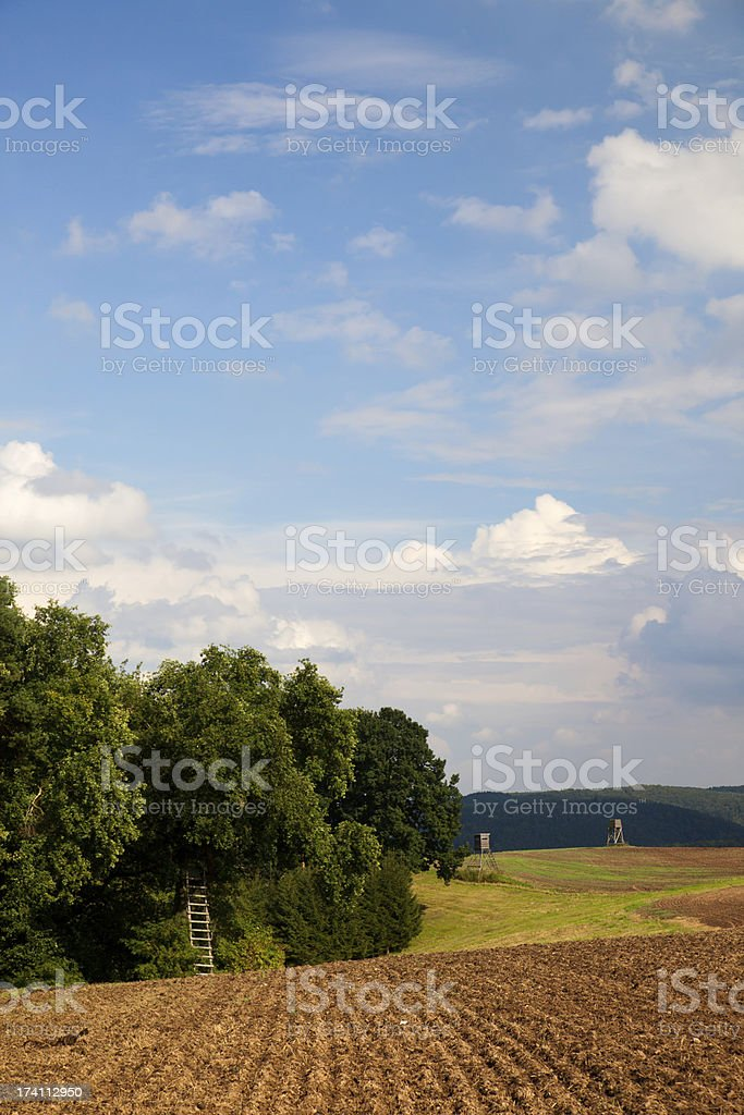 Hunter stand on the edge stock photo