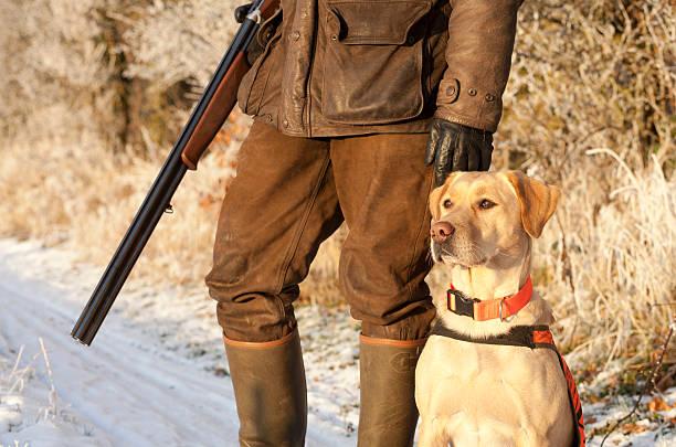 Hunter con perro - foto de stock