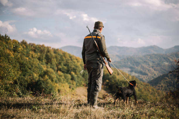 Hunter with dog Hunter with hunting dog during a hunt hunter stock pictures, royalty-free photos & images