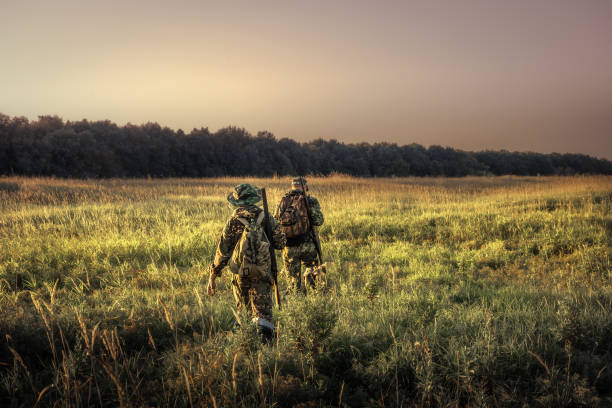 Hunters hunting equipment going away through rural field towards forest at sunset during hunting season in countryside Hunters with hunting equipment going away through rural field towards forest at sunset during hunting season in countryside hunter stock pictures, royalty-free photos & images