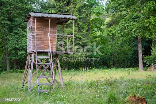 istock Hunters hut in the forest by the road. Hunter tower or watch post in the wilderness. Hunter post is a wooden structure to watch and shoot at wild animals 1169372202