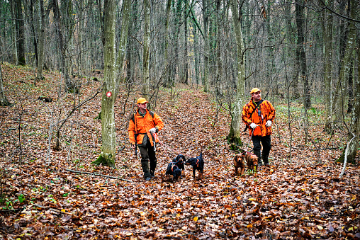 Hunters in the woods
