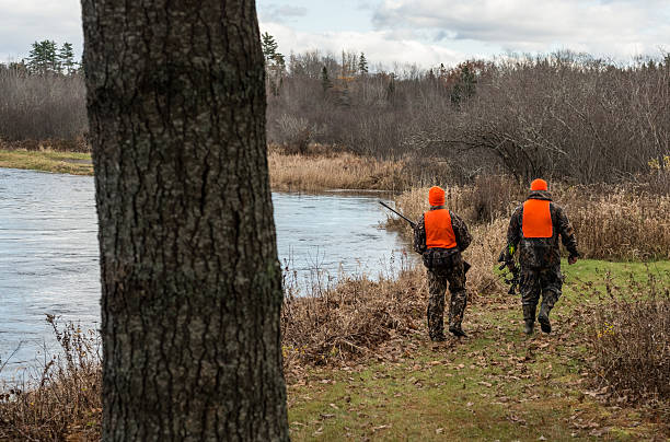 Hunters Walk Edge of River Aspen, Canada - November 8, 2013: Two hunters depart from a Guysborough County hunting camp for an evening hunt along the St. Mary's River. hunting blind stock pictures, royalty-free photos & images