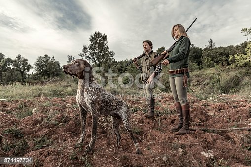 Hunters with German Shorthaired Pointer