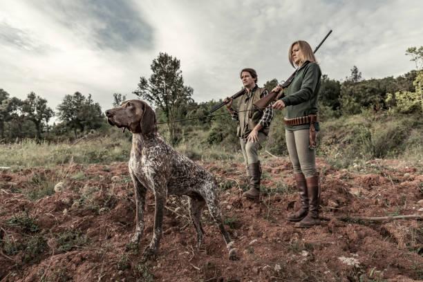 chasseurs avec braque allemand - chasser photos et images de collection