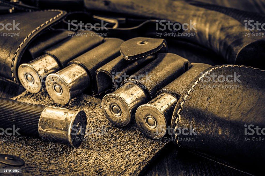 Hunting ammunition 12 gauge in leather bandolier and shotgun stock photo