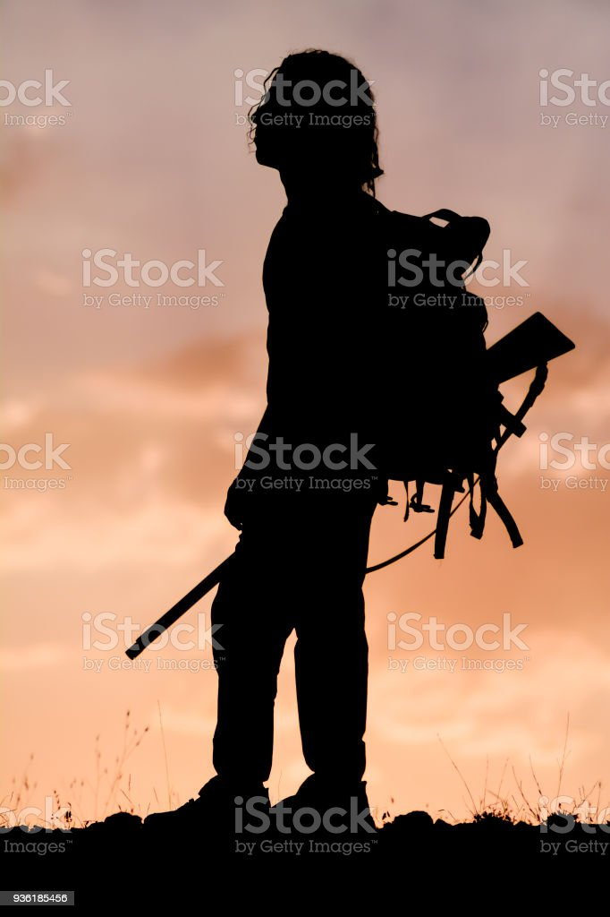 hunting and trekking in nature stock photo
