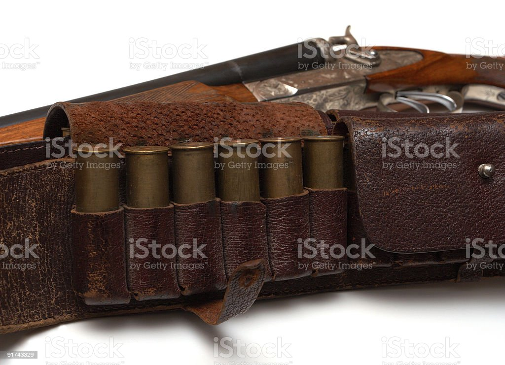 hunting belt and the rifle royalty-free stock photo