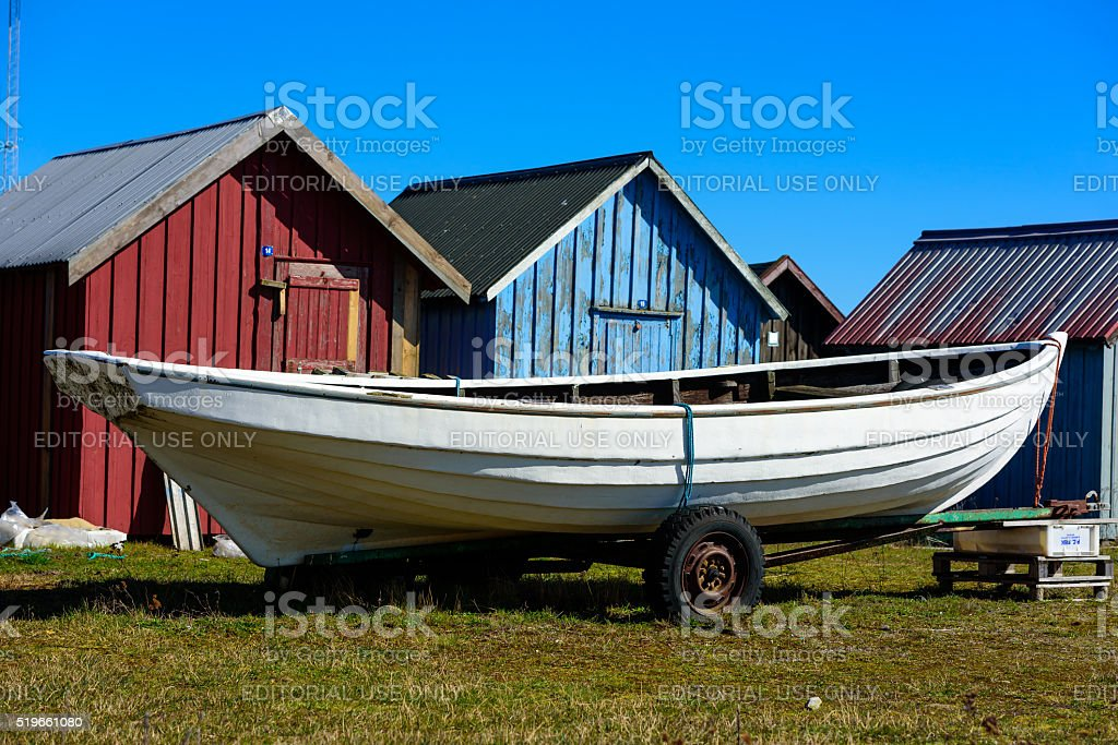 Hunting canoe on trailer stock photo