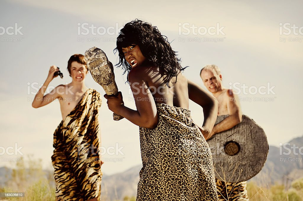 Hunting Cavemen stock photo