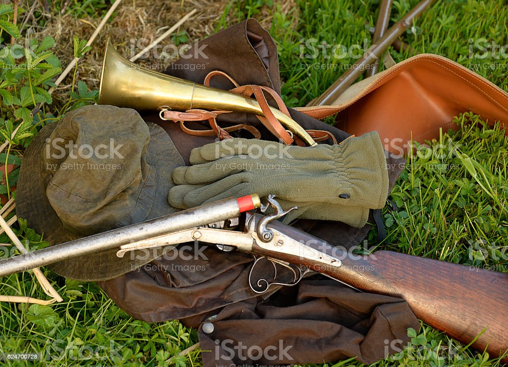 Hunting clothing and equipment stock photo