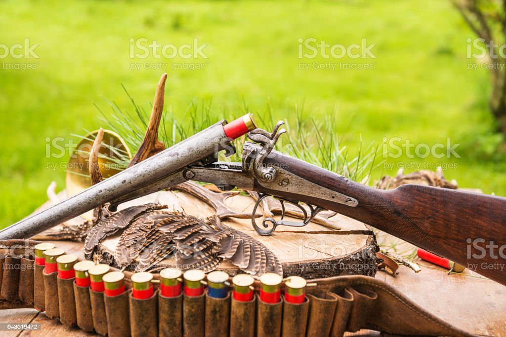 hunting composition stock photo