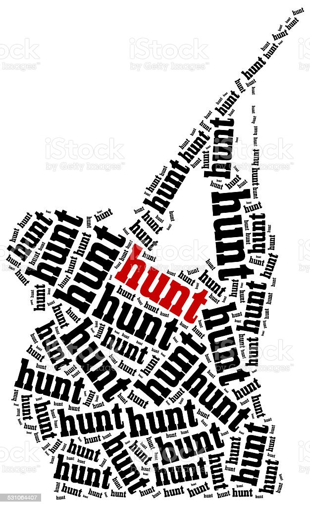 Hunting concept. Word cloud illustration. stock photo
