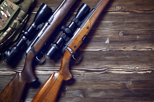 Hunting Equipment On Old Wooden Background Stock Photo - Download Image Now