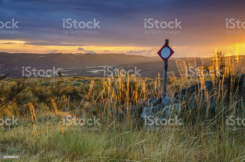 Hunting Prohibited Zone in the meadow at sunset. royalty-free stock photo
