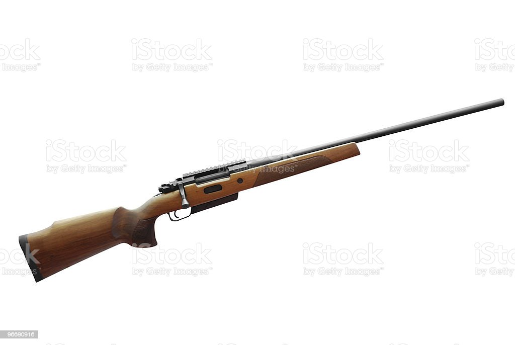 A hunting rifle on a white background stock photo