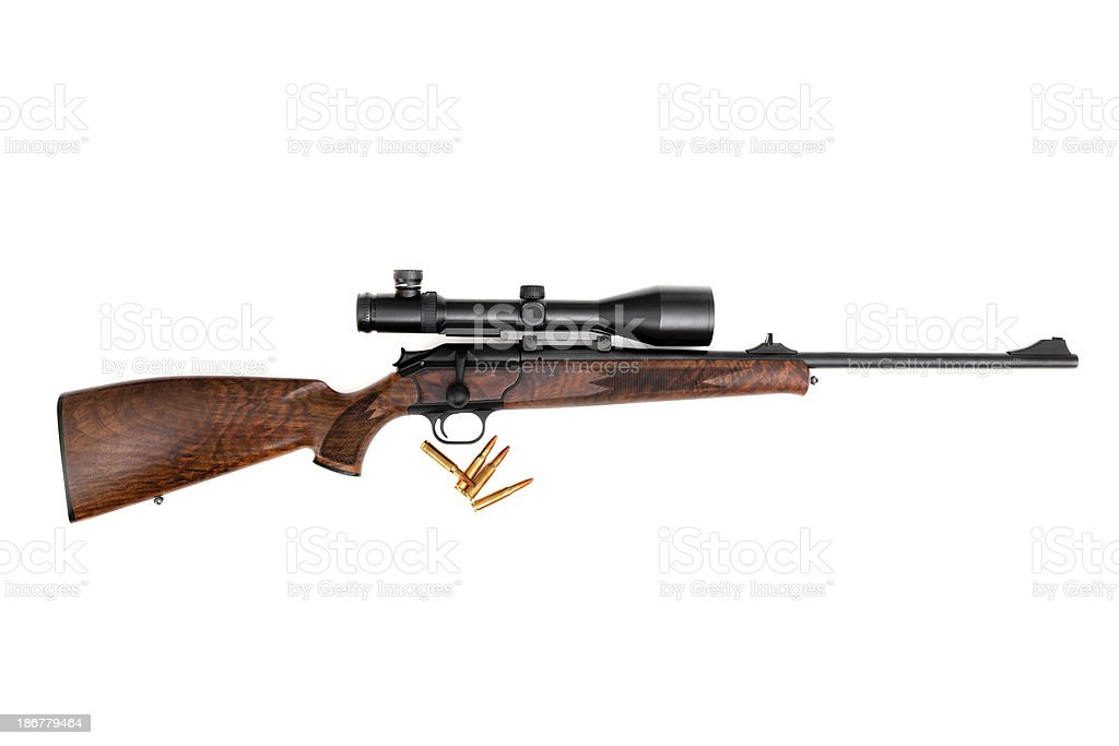 Hunting Rifle with cartridge stock photo