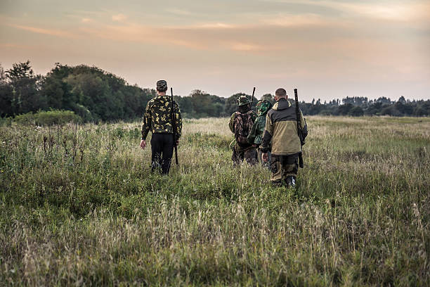 Hunting scene with hunters going through rural field during hunting Hunting scene with hunters going through rural field during hunting season in overcast day during sunset with moody sky hunter stock pictures, royalty-free photos & images