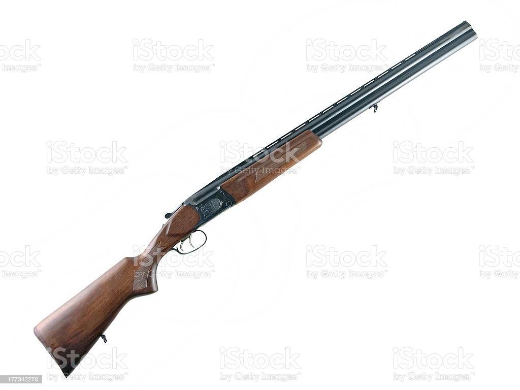 Hunting shotgun rifle isolated on white background stock photo