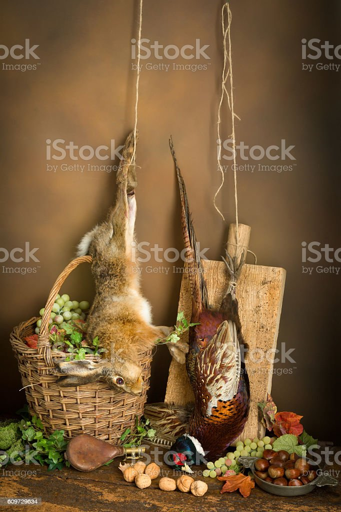 Hunting still life with hare stock photo
