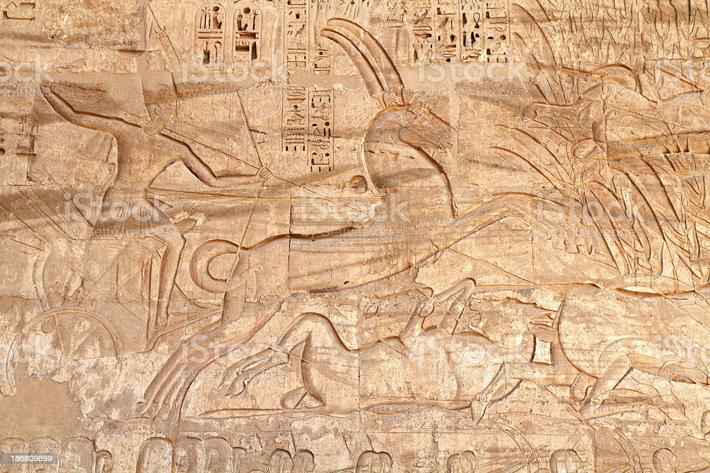 Hunting Wild Bull in the Marsh, Medinet Habu, Luxor, Egypt stock photo