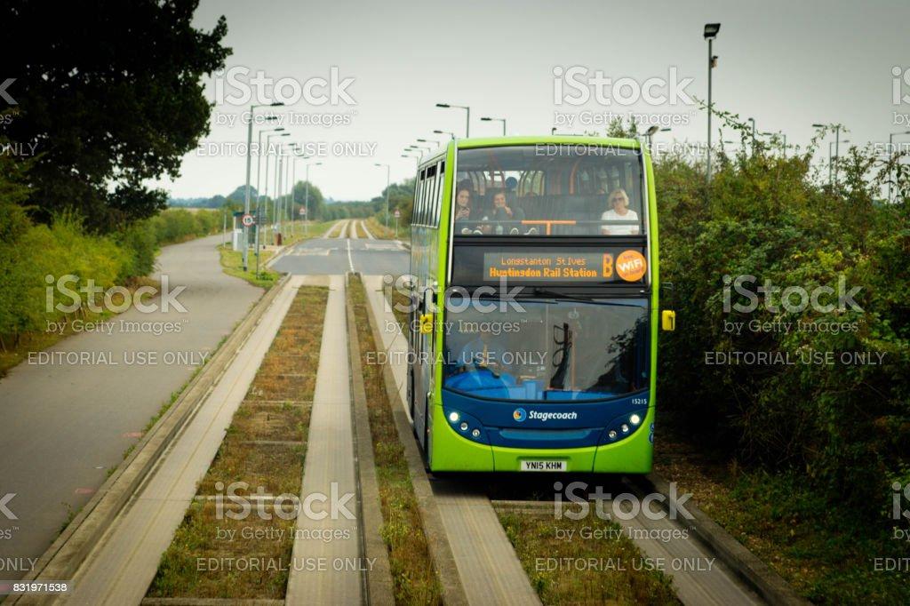 Huntingdon to Cambridge Guided bus stock photo