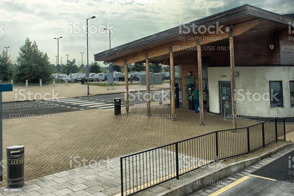 Huntingdon to Cambridge Guided bus stop stock photo