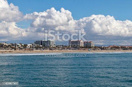 Huntington Beach, CA - March 20, 2019: The Pacific Ocean and Coastline of Huntington Beach California on the Southside of the Huntington Beach Pier