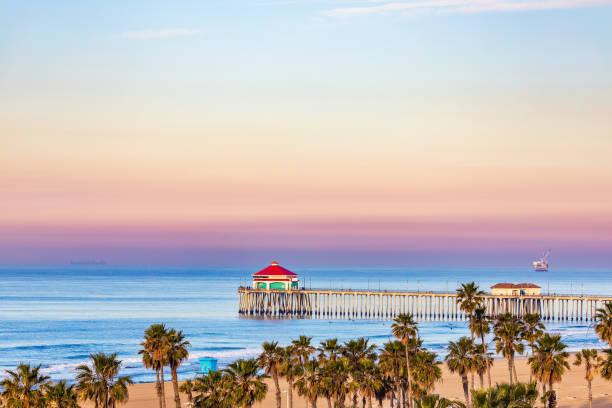Huntington Beach Pier at sunrise. stock photo