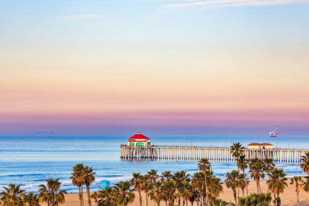 Huntington Beach Pier at sunrise. stock photo