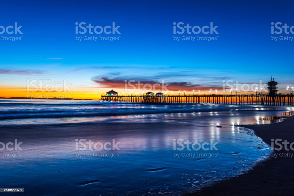 Huntington Beach Pier At Sunset Stock Photo Download Image Now Istock