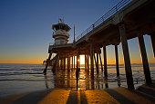 sunset at Huntington Beach, CA pier