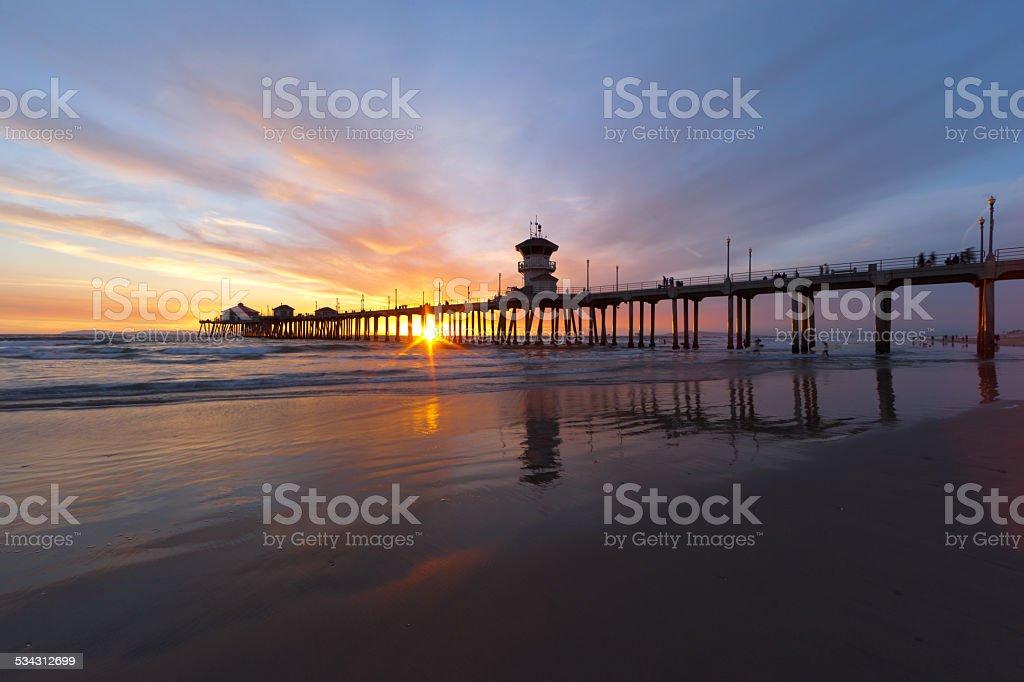 Huntington Beach Sunset royalty-free stock photo