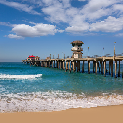 Huntington Beach Pier At Sunset Stock Photo - Download