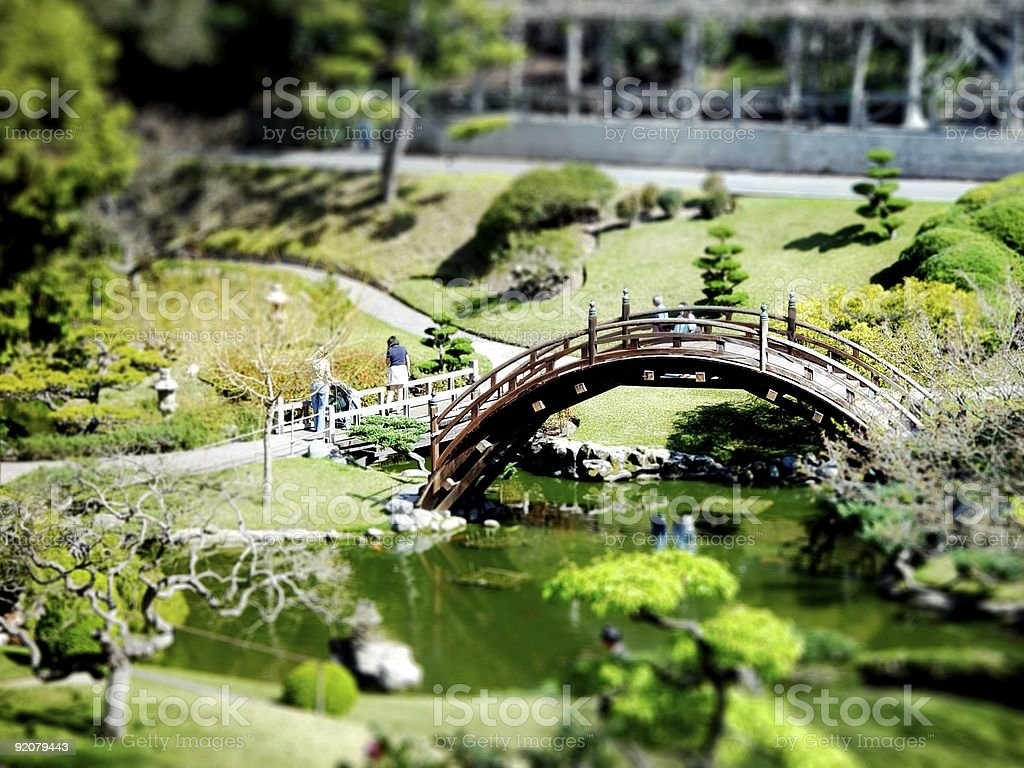 Huntington Gardens Miniature Bridge stock photo