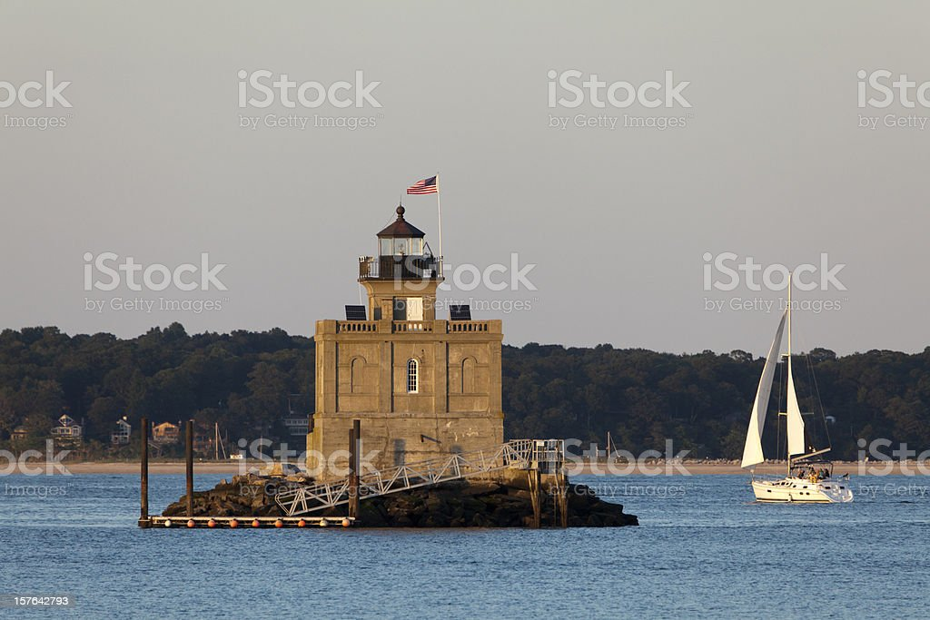 Huntington Harbor Lighthouse stock photo